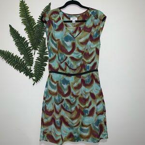 Ann Taylor LOFT Dress Water Green Brown 10 EUC